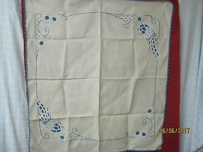 Vintage linen Tablecloth corded Embroidery blue & white Flowers & Birds
