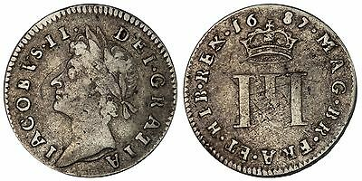 1687 Threepence James II silver coin of Great Britain