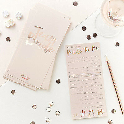 HEN PARTY Advice to the Bride Cards x 10 Party Fun Games Bride to Be Team Memory