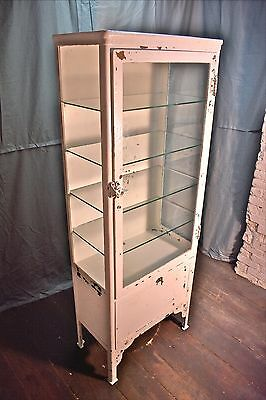 old plate glass Medical Cabinet heavy steel 65x24x13 shelves & storage authentic