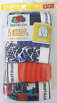 Fruit of the Loom Boys Boxer Briefs 5 Pk Size Medium (10-12)