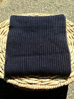 TSE Unisex 100% Cashmere Navy Ribbed Scarf, Long And Wide!
