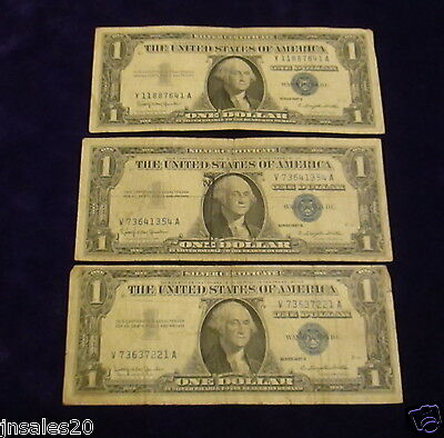 Lot Of 3 1957B  $1 Circulated Blue Seal Silver Certificates J8