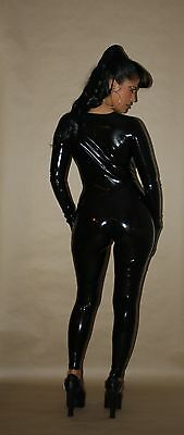Latex Damen Catsuit in Black in 0.40 , Latex Jumpsuit, Latex Anzug