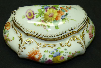 Lovely Antique Signed Dresden Porcelain Trinket Box Hand Painted Floral w/ Gold