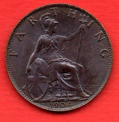 1904 King Edward Vii Farthing Coin With Dark Finish. High Grade.