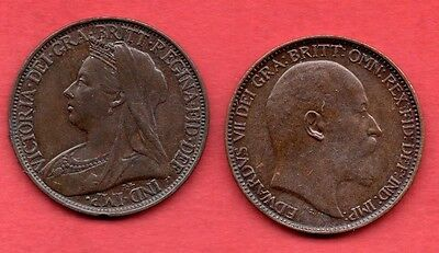 1902 KING EDWARD VII, AND 1899 QUEEN VICTORIA FARTHING COIN. 2 X 1/4d COINS.