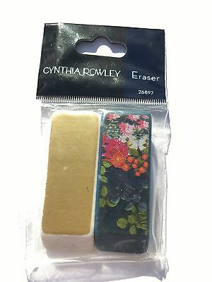 Cynthia Rowley 2pk Designer Erasers 26897 White Gold Navy Blue Painterly Floral