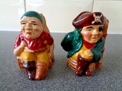 Vintage Manor Ware 2 Pirates Sitting in Chair Salt & Pepper Pot