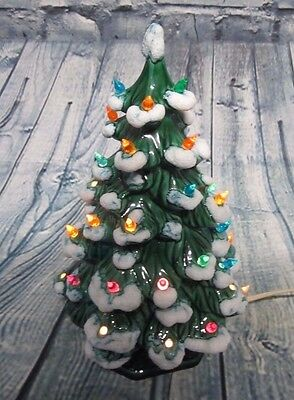 Vintage Ceramic Glass Christmas Tree Mold Light Up Base Frosted Snow Tips
