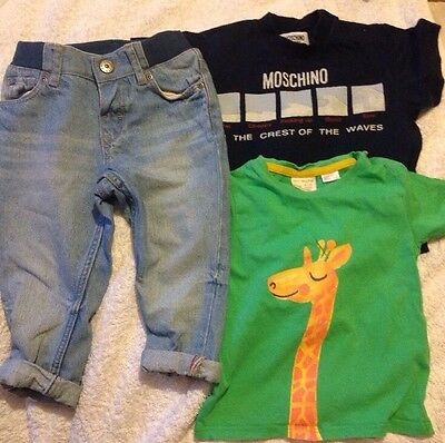 Baby Boys Bundle H&M Jeans Moschino Top And Zara T Shirt Age 9-12 Mths