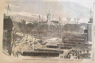 1865 newspaper New York City Police Dept Parade POSTER ENGRAVING BLACK AMERICANA