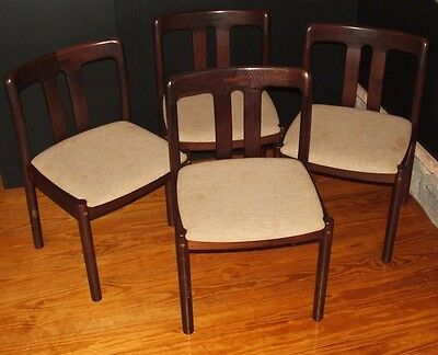 Vintage Mid Century Modern Danish Chairs Set of 4 Made in Denmark Teak Wood