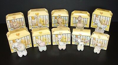 Lot of 10 Precious Moments Birthday Train 0-9 Yrs Old w/ Original Boxes VTG 1985
