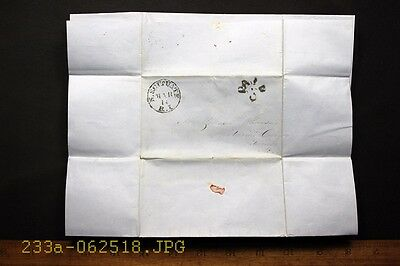Antique c.1850 Stampless Cover w N. Scituate, R.I. & PAID 3 Cancel 3 Page Letter