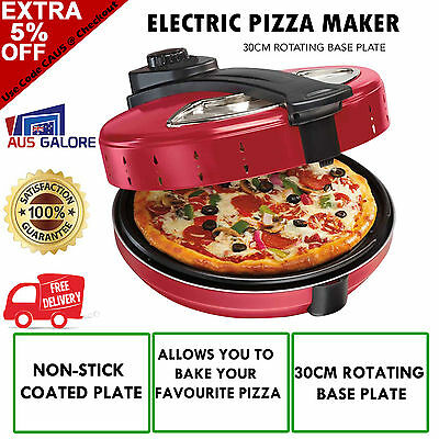 New Electric Pizza Maker Cooker Oven Machine Large Rotating Stone Base Pizza 30