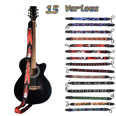 For Electric Acoustic Guitar Bass Adjustable Patterned Guitar Strap Leather End