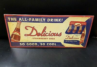 Vintage All Family Drink Delicious Strawberry Soda Metal Sign