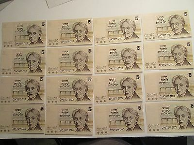 Lot of 16 1973 5 Lirot Israel Bank Notes, UNC., Henrietta Szold