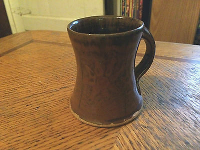 "SIGNED Mark Hewitt WMH NC Pottery Miniature Cup Mug 3""  Brown Flower"