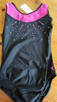 Girls gymnastics leotard black and pink 12