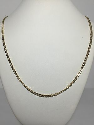 18k Yellow Gold Thin Cuban Link Men's Chain Necklace 12.4 Grams