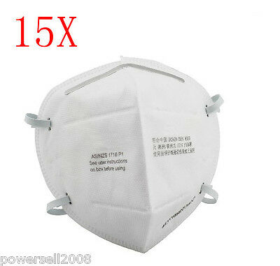 15X White Three Layer Adult Protective Dust/Virus Facepiece Respirator Mask
