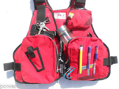 LQX098 Collapsible Professional Multi-function Life Jacket/Fishing Red Vest