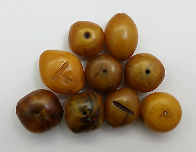 Vintage MED-LRG Moroccan/Mauritanian/African Oblong/Oval Manmade Amber Bead