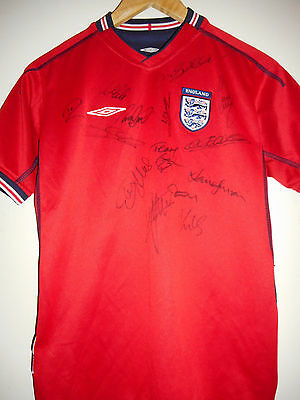 England signed football shirt by 2002 World Cup team inc COA Scholes & Becks