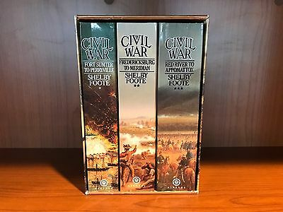 Lot of 3 The Civil War by Shelby Foote Paperback Books with Slip Case Vintage