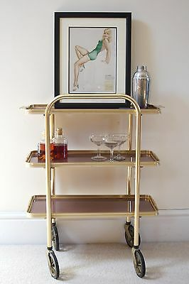 Three Tier 1960s Vintage Bar Cart/Drinks Trolley