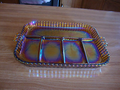 Vintage 5 Part Or Compartment Serving Tray Relish Dish Indiana Fruit Pattern