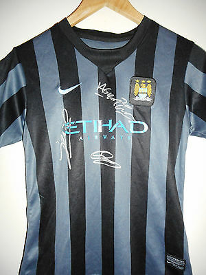 Man City signed football shirt by 3 world class club legends inc COA