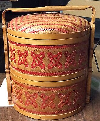 Vintage Asian Chinese Bamboo Wedding Basket Stackable Circa 1930