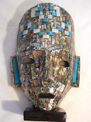 Mayan Burial Mask Stone Turquoise, Mother of Pearl, Abalone Art Sculpture Mexico