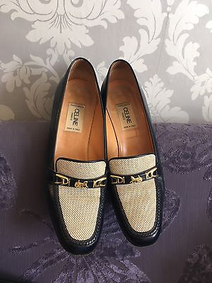 Celine Vintage Navy & Cream Heels Shoes Uk 5
