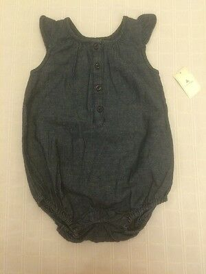 Baby Gap girls Denim Chambray Romper Bubble Outfit NEW 12 18 Mos