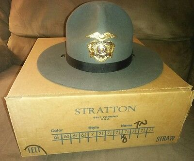 Stratton Tennessee olive green State Trooper Highway Patrol Campaign Hat Sz 7.5