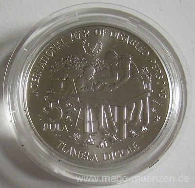 Botswana 5 Pula 1981 Year of Disabled Persons Silver BU