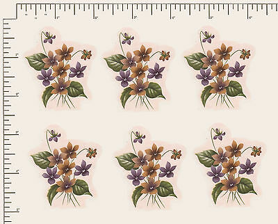 "6 x Waterslide Ceramic decals.Violets Flowers Floral 2 1/4"" x 1 3/4""  PD992"