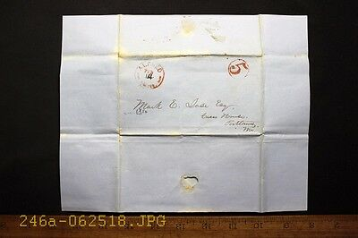 Antique 1850 Stampless Cover w/ Red Alfred, Me. & Circle 5 Cancel