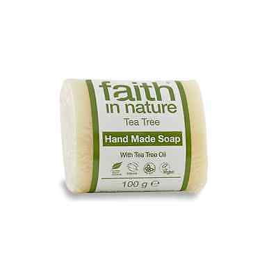 FAITH IN NATURE TEA TREE HAND MADE SOAP - VEGAN - ANIMAL CRUELTY FREE 100g