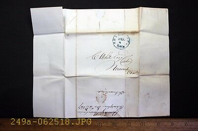Antique 1847 Stampless Cover - Bank of Pennsylvania Blue Phila. Pa. 5cts Cancel