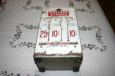 Vintage U.S. Postage Stamp Vending Machine 10, 10, & 25 Cent Slots Machine  #4