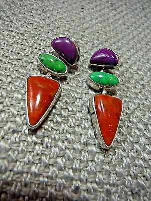 Native American Sterling Silver Multi-Stone Pierced Earrings--Charoite-Turquoise