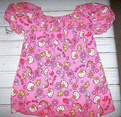 Handmade Pink Kitty Peasant Top girls size 8-10 Kitty and Butterflies