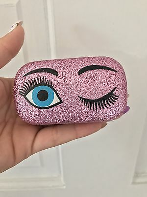 Contact Lens Case, Girly Glittery With Interior Mirror, Pink, Wink, Travel