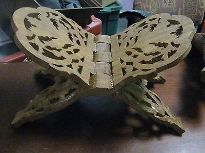 """Vintage Wood Book Holder Carved in Leaf Motif  approx. 11.5"""" w x 7"""" tall open"""