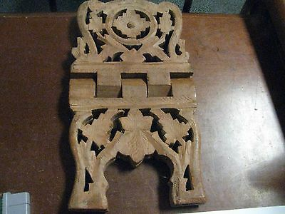 """Vintage Wood Book Holder Carved Flower Leaf approx. 10.5"""" w x 7.5"""" tall open"""